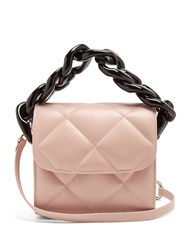 Marques Almeida Oversized Curb Chain Quilted Leather Shoulder Bag Light Pink