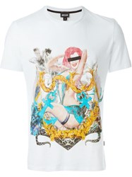 Just Cavalli Pin Up Girl Print T Shirt White