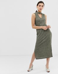 United Colors Of Benetton Sleveveless Maxi Knittdress With Keyhole Cut Out Green