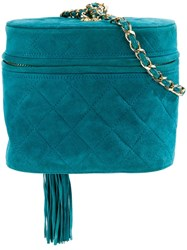Chanel Vintage Fringe Quilted Shoulder Bag Green
