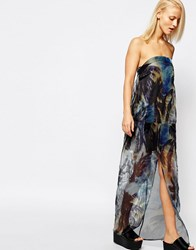 Suboo Palm Print Strapless Sheer Maxi Dress Multi