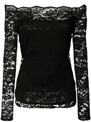 L'agence Off Shoulder Lace Blouse Black