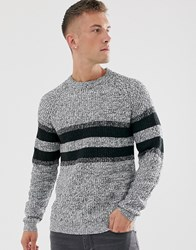 Only And Sons Knitted Jumper With Stripe Grey
