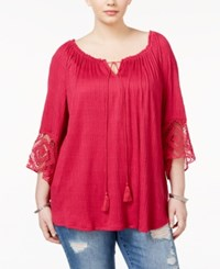 Eyeshadow Trendy Plus Size Lace Trim Peasant Top Vivacious