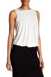 Max Studio Pleat Yoke Bubble Hem Tank White