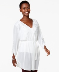 Miraclesuit Shaping Sheer Wrap Style Tunic Top Sld Ivory