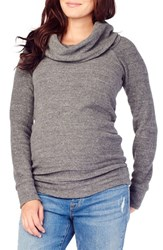 Ingrid And Isabelr Women's Isabel Cowl Neck Maternity Sweater Grey Heather Triblend