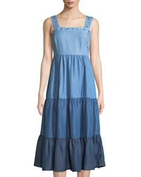 Philosophy Tiered Colorblock Chambray Midi Dress Blue