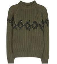 Nina Ricci Sequinned Wool Sweater Green