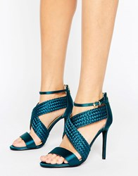 Forever Unique Claudia Cross Strap Heeled Sandal Emerald Green