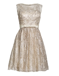 Aftershock Dymon Beige Fit And Flare Dress