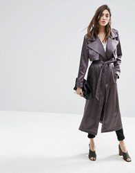 Asos Trench In Satin Fabric Charcoal Grey