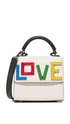 Les Petits Joueurs Alex Rainbow Love Micro Cross Body Bag White Black