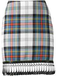 Danielle Romeril Trimmed Hem Plaid Skirt White