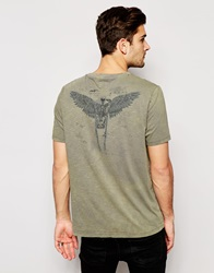 Asos T Shirt With Macabre Wing Print Green