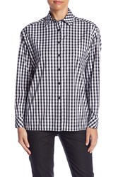 Lafayette 148 New York Jessie Gingham Print Blouse Petite Ink Multi