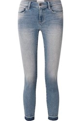 Current Elliott The Stiletto Cropped Distressed Mid Rise Skinny Jeans Mid Denim