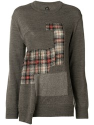 Y's Patchwork Sweater Brown