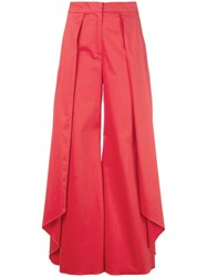 Alexis Draped Details Palazzo Pants Red