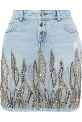 Each X Other Embellished Distressed Denim Mini Pencil Skirt Light Denim
