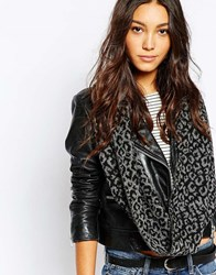Pieces Leopard Tube Scarf Light Gray