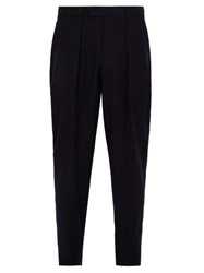 Giorgio Armani Pleat Front Wool Trousers Navy