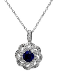 Macy's Sapphire 5 8 Ct. T.W. And Diamond 1 3 Ct. T.W. Knot Pendant Necklace In 14K White Gold