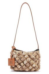 M Missoni Woman Leather Trimmed Crocheted Cotton Blend And Raffia Shoulder Bag Sand
