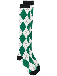 Undercover Argyle Knit Socks Green