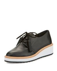 Loeffler Randall Callie Leather Demi Wedge Oxford Black