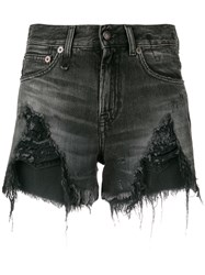 R 13 R13 Distressed Denim Shorts Black