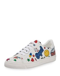 Anya Hindmarch Stickers Low Top Leather Sneaker White