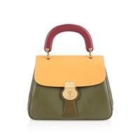 Burberry The Trench Leather Top Handle Bag Green
