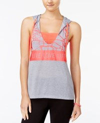 Energie Active Juniors' Lucy Hooded Layered Look Tank Top Heather Grey Electric Strawberry