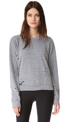 Monrow Heather Vintage Crew Sweatshirt Dark Heather
