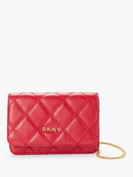 Dkny Sofia Medium Leather Quilted Cross Body Bag Bright Red