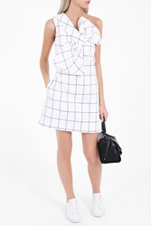 Victoria Beckham Women S Windowpane Check Twist Dress White Black