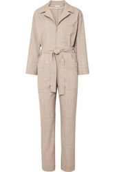 Maje Belted Checked Cady Jumpsuit Stone