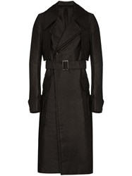Rick Owens Double Breasted Trench Coat Black