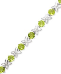 Macy's Sterling Silver Bracelet Peridot 8 1 2 Ct. T.W. And Diamond Accent