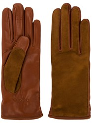 Lanvin Contrast Finish Driving Gloves Leather Cashmere Brown