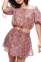 Free People Women's Electric Love Crop Top And Skirt Set Red Combo