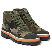 Valentino Rubber Trimmed Camouflage Canvas High Top Sneakers Army Green