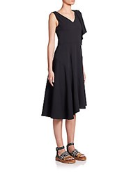 Marni Asymmetrical Crepe Dress Black