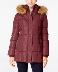 Tommy Hilfiger Faux Fur Trim Hooded Quilted Puffer Coat Only At Macy's Crushed Violet
