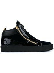 Giuseppe Zanotti Design Leather And Velvet Mid Tops Black