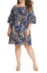 Gabby Skye Plus Size Sky Floral Tiered Sleeve Off The Shoulder Dress Midnight Multi