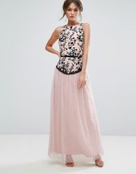 Little Mistress Embroidered Maxi Dress With Tulle Skirt Light Pink