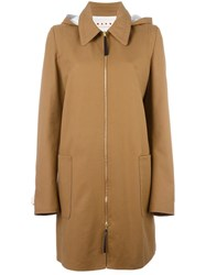 Marni Hooded Zip Front Coat Brown