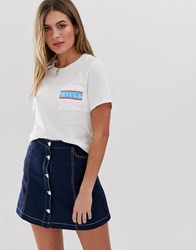 Jack Wills Milson Cropped T Shirt With Logo Navy
